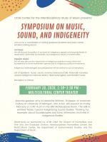 Image of poster for Symposium on Music, Sound, and Idigeneity